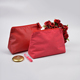 Beauty best quality fine and rich textures red make up brushed leather cosmetic bag