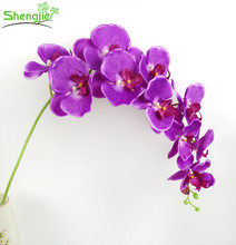 Commercio all'ingrosso home decor 11 capi di seta artificiali fiori di orchidea steli