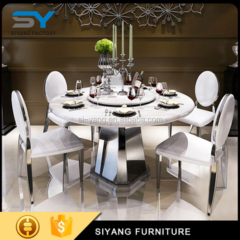 6 Seater Dining Table Set Marble Top Round With Rotating Centre Ct016 Tables
