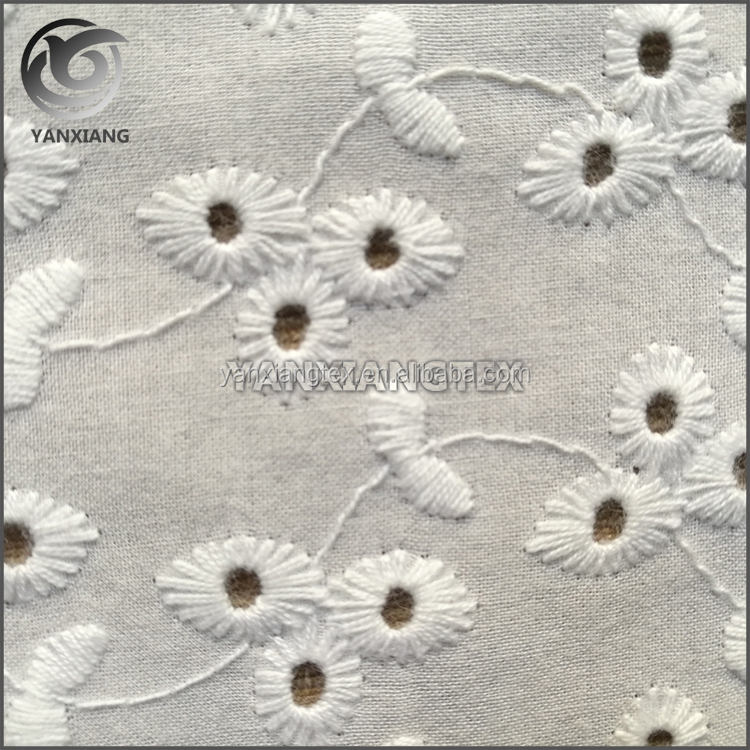 Wholesale plain mesh soft embroidery Eyelet Cotton Fabric