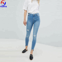 Wholesale light wash distressed ripped skinny women jeans