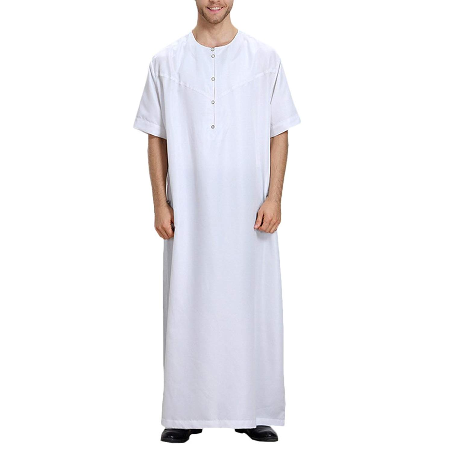 Get Quotations · Zhuhaitf Muslim Arab Middle Eastern Islamic Mens Short  Sleeve Solid Color Robes 9b8e29a0b