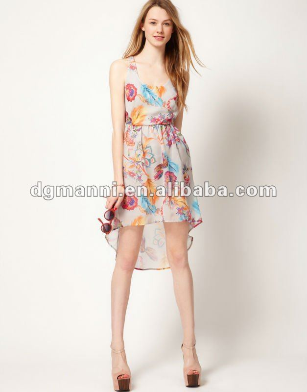 New picture fashion short front long back dress casual for women clothing 2012