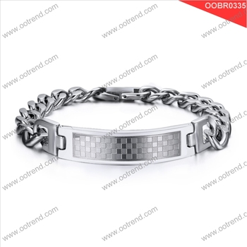 blank ID Plate 316 stainless steel Chain Bracelet Customized LOGO Bracelet Jewellery