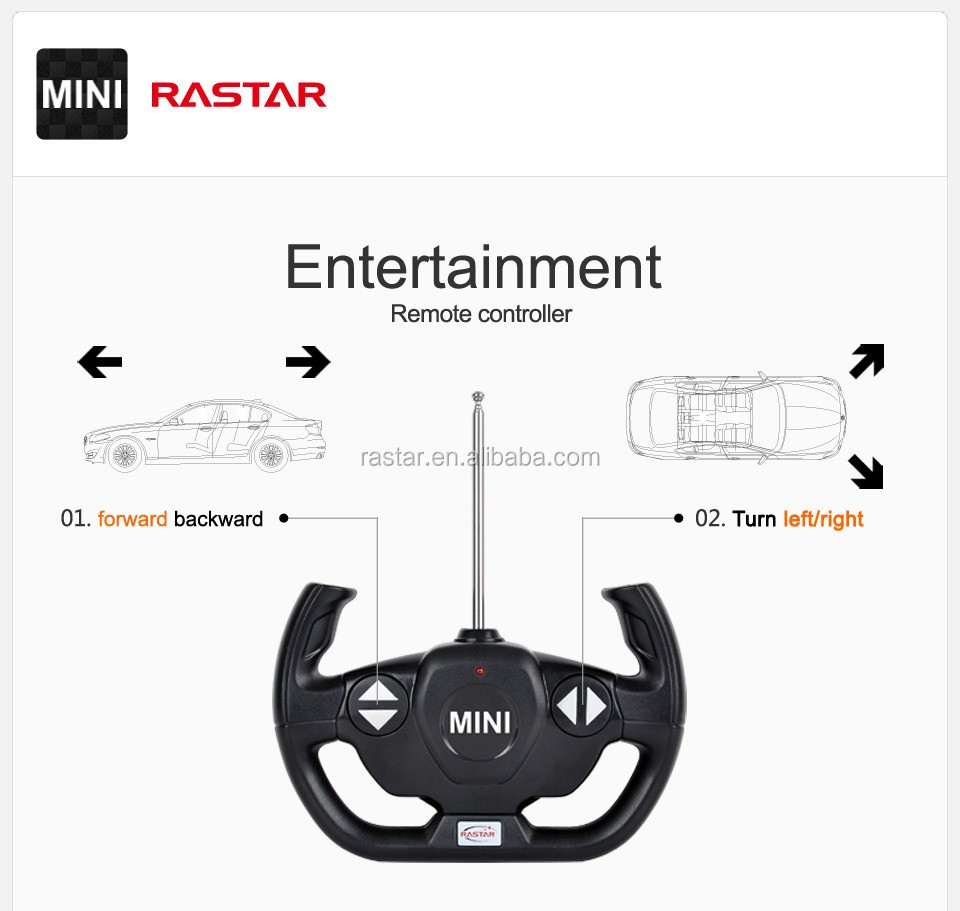 RASTAR battery toy wheel shock absorber mini cooper rc stunt car