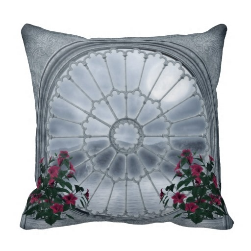 Serious Gothic Rosette Window Throw Pillow Case (Size: 20