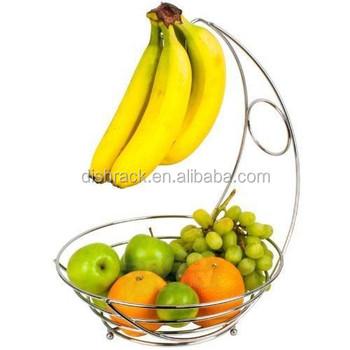 Fruit Bowl Banana Hanger Storage Chrome Fruit Basket - Buy Fruit ...