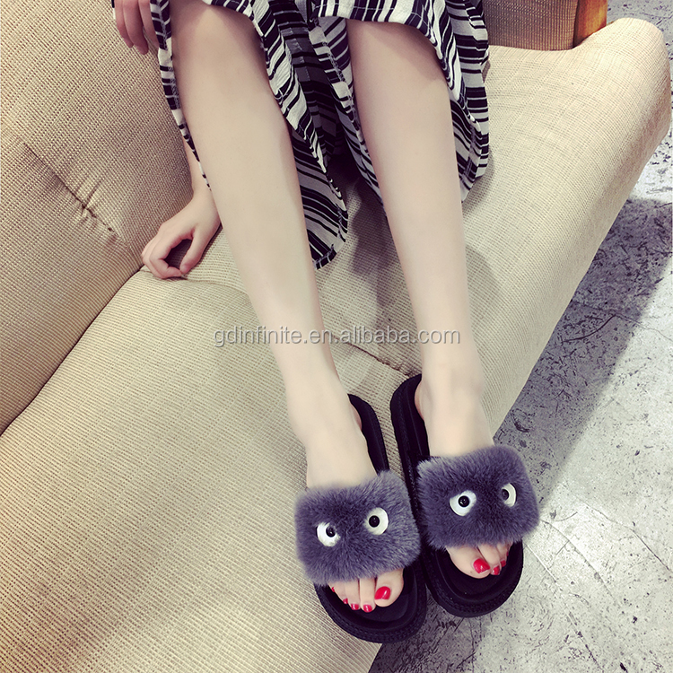 Women PVC sandals custom slides fuzzy Indoor slippers women