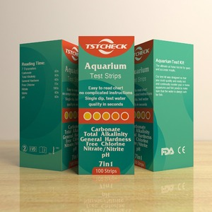 FDA CE approved aquarium test kit 7in1 water test strips pH Chlorine Hardness, nitrite