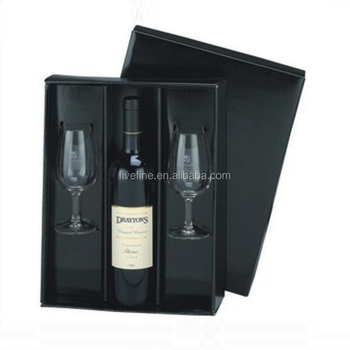 High End Black Wine Gift Boxes With Cardboard Tray For Wine Bottles And Wine Glasses Buy Wine Gift Boxes With Cardboard Tray Wine Gift Box For 2