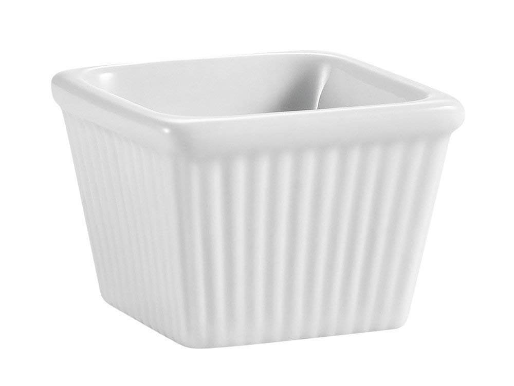 CAC China Accessories 2-3/8-Inch by 1-7/8-Inch 3-Ounce Super White Porcelain Square Fluted Ramekin, Box of 48