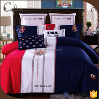 cheap red white blue 4 piece queen/king embroidered cotton bedding set