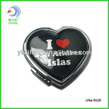 personalized heart cosmetic mirror Promotional items pocket mirror