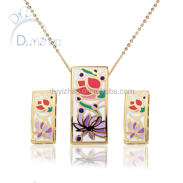 fashion costume enamel jewelry set wholesale necklace pendent lewe;ry gold plated