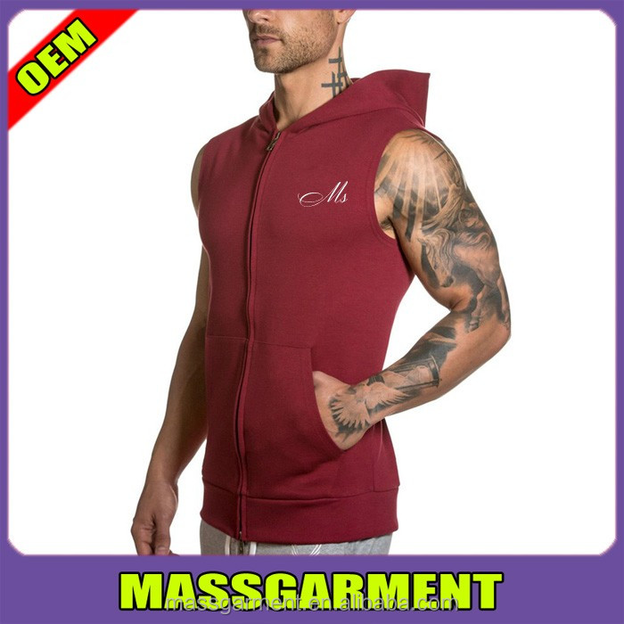 Maroon Sleeveless Pullover Gym Sportswear Fitness Hoodies For Man