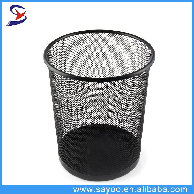 Office Stationery 3 Size Round Black Mesh Trash Can Wire Metal Paper ...