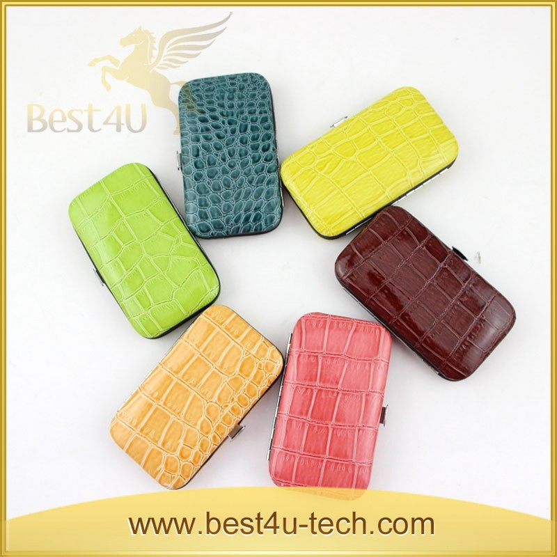 New Arrival Colorful Crocodile Portable Manicure Pedicure Set Kit Tool