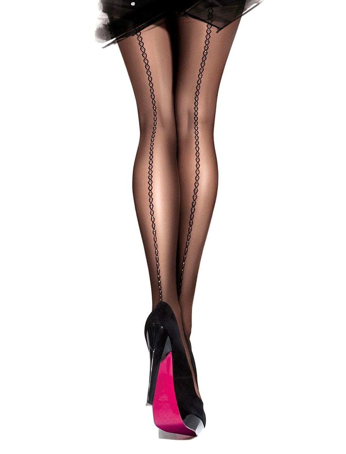 bd2b92725d190 Get Quotations · Sheer Tights | Women's Sheer Black Printed Tights with  Shimmering Back Seam | Gatta RONNA 20
