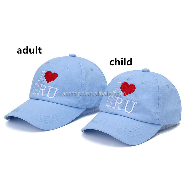 High Quality Two Style Cotton I LOVE GRU Snapback For Adult Children Baseball Cap Lovers Hip Hop Dad Hat For Men Women Girl Boy