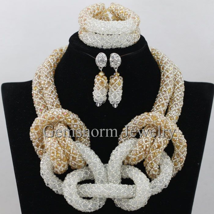 2016 Popurlar Nigerian Wedding Necklace Jewelry Sets Handmade Unique African Costume Jewelry Set GWH0048