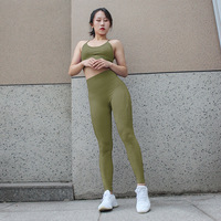 OEM High Quality Gym Outfit Sports Workout Wear Ladies Hot Sexy Stretch Fitness Bra Leggings for women padded 2 pieces Set
