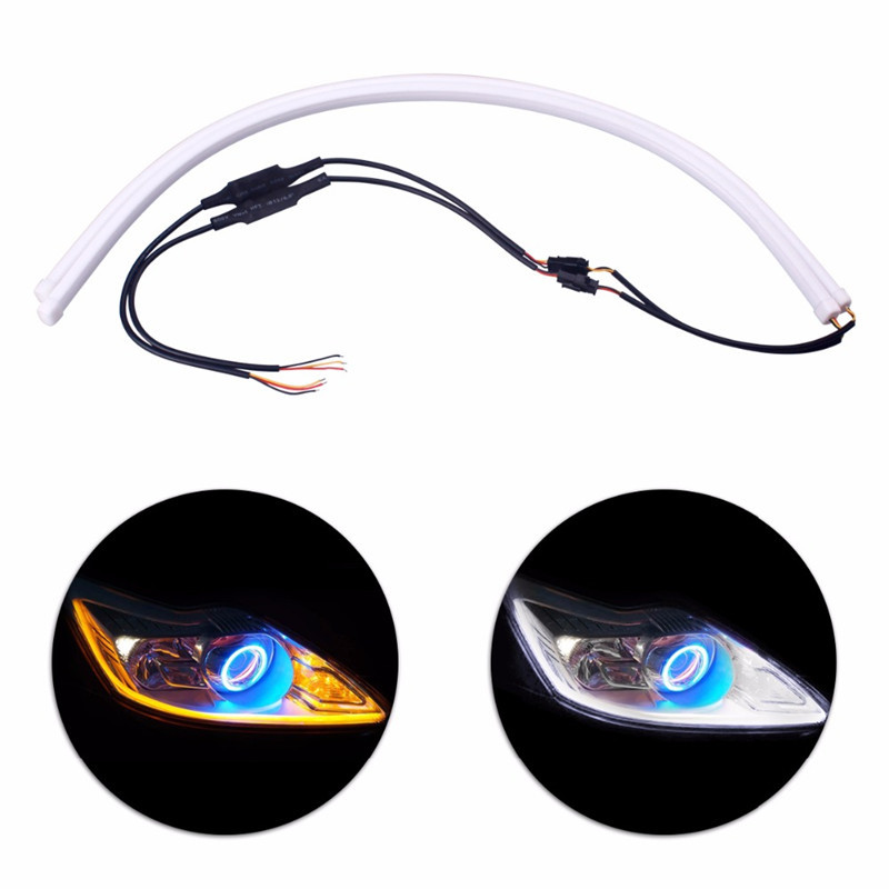 60cm DRL Flexible LED Tube Strip Style Daytime Running Lights Tear Strip with yellow Turn Signal Light