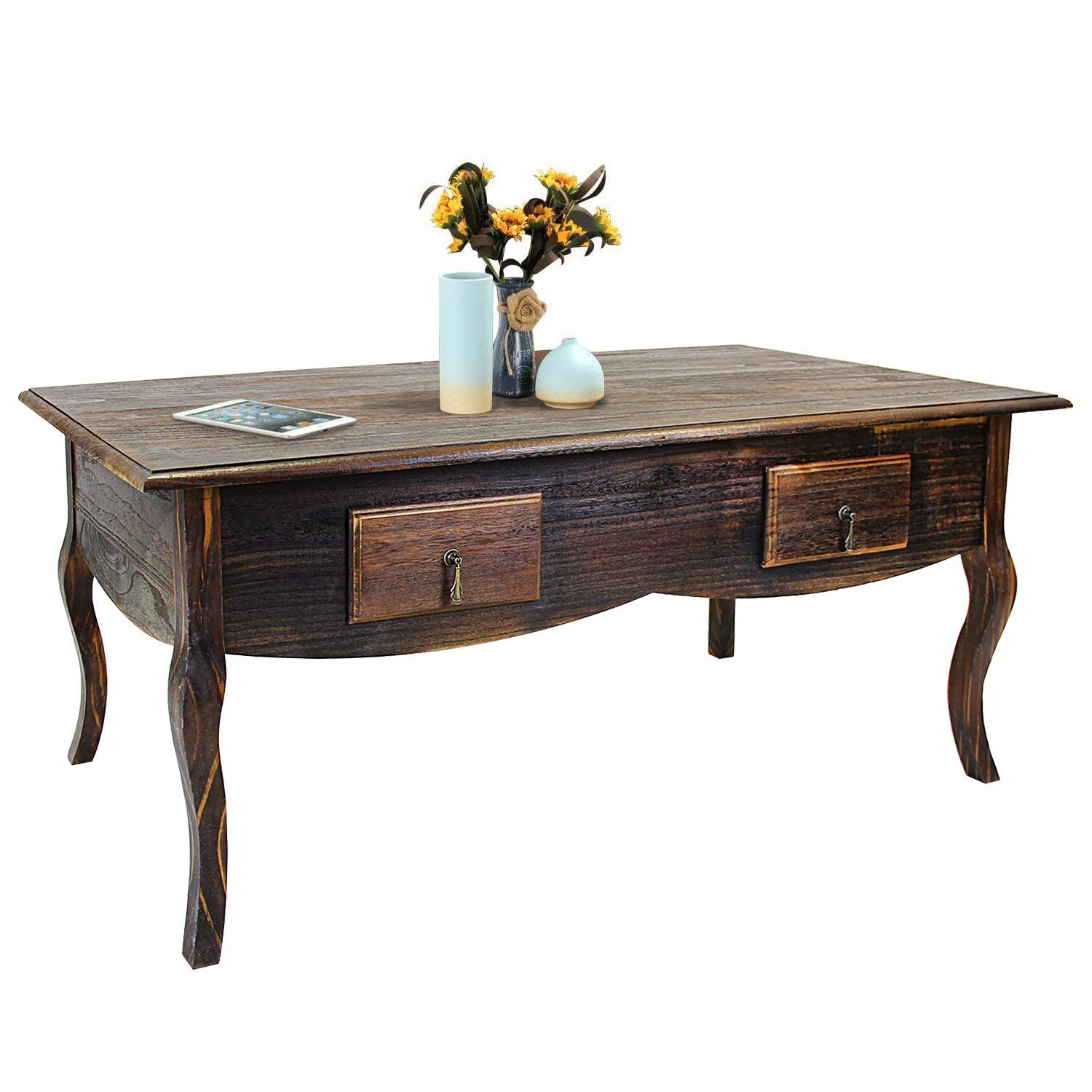 Jerry & Maggie - 1 Tier Wood Tea Coffee Desk Table With 4 drawer - Smooth Surface Ancient Style Tea Dinner Table Great for Living room & Office - Dark Natural Wood Tone