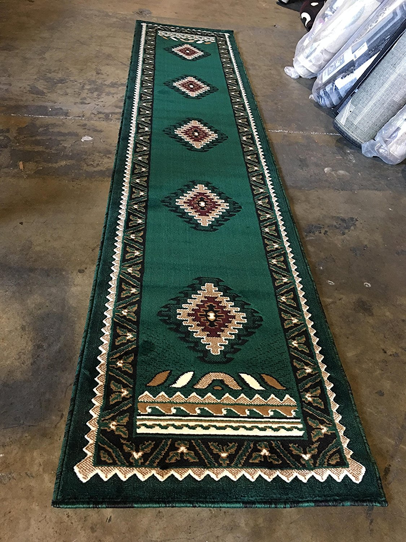 Southwest native american long runner rug hunter dark green design d143 2 feet 4 inches