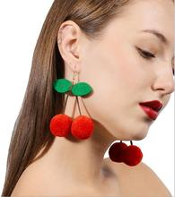 XR050 Huilin Jewelry Boucle Bijoux Vintage Red Cherry Pom Pom Drop Earrings For Women Girl Jewelry Pendientes