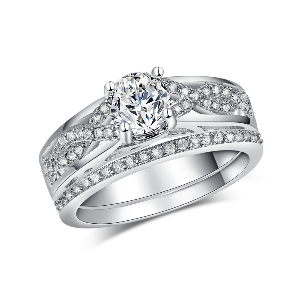 sterling silver jewelry fashion bridal sets ring for women engagement ring cz diamond wedding. Black Bedroom Furniture Sets. Home Design Ideas