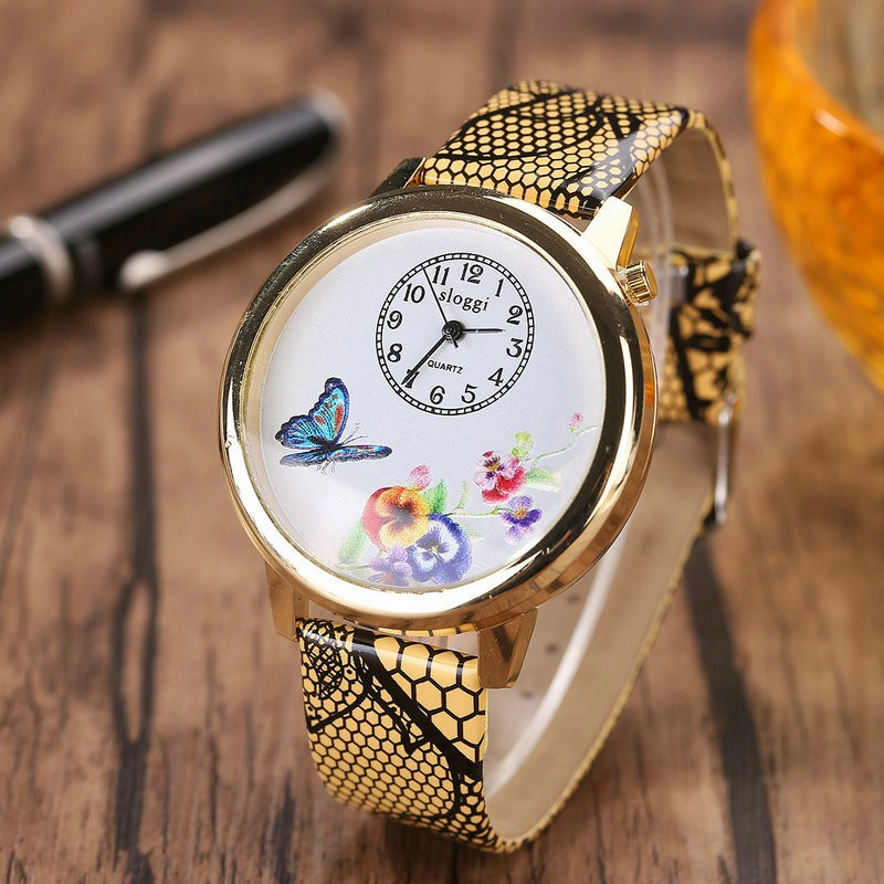 charming sloggi wrist watch Chinese new style love of butterfly female quartz watch snakeskin grain strap