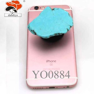 Turquoise & White Turquoise  Soft silicone Round Expand Phone Holder Stand Grip Universal Smartphone Tablet Round Finger Ring Mo