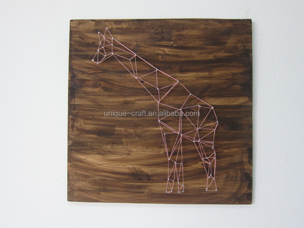 Pink String Art Giraffe On Wood Board Wall Decor