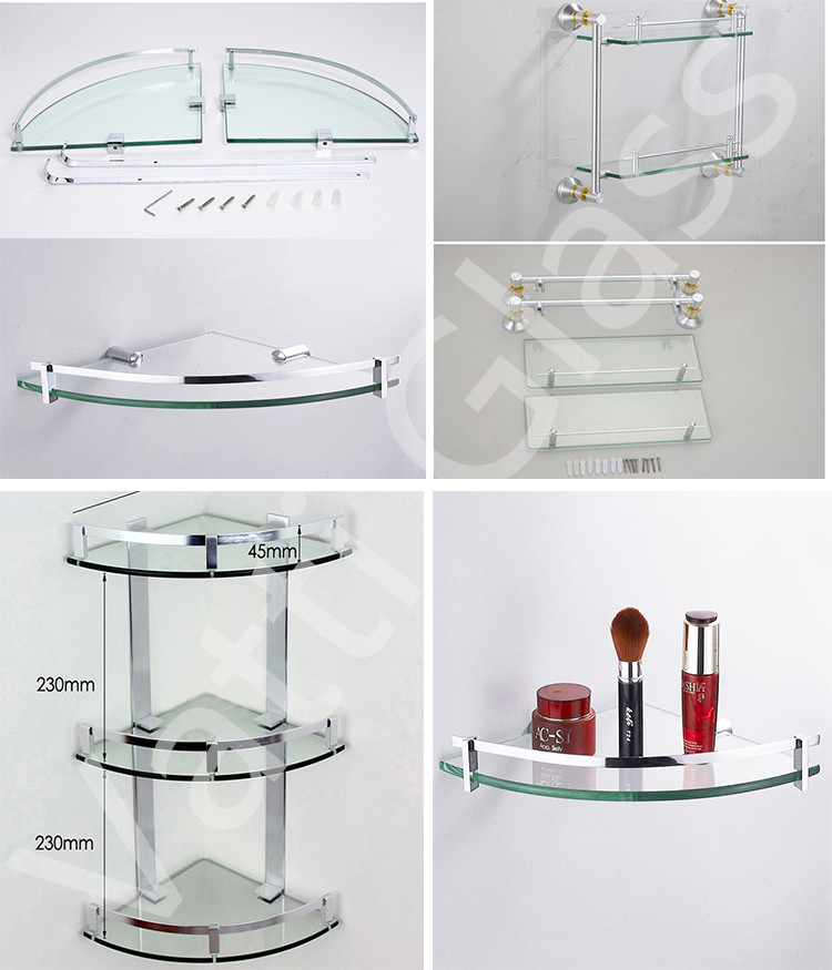 1600 Aluminum Bathroom Double Corner Glass Shelves With Towel Bar ...