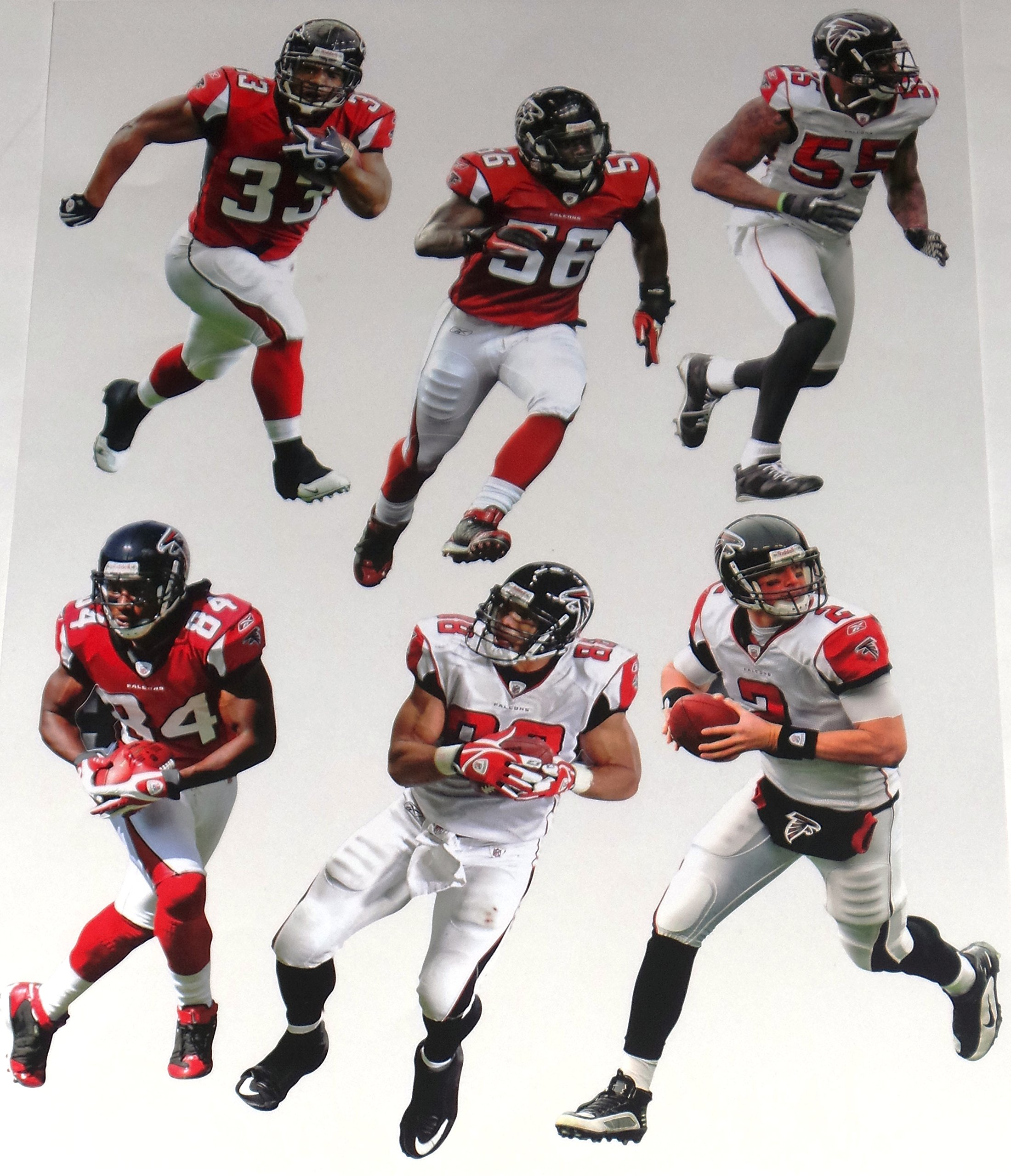 """Atlanta Falcons FATHEAD Team Set of 6 Players Official NFL Vinyl Wall Graphics - Each Player Graphic is 7"""" inches tall"""