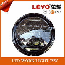 Taiwan 75w led working light stainless steel davidson ,motorcycle parts 7inch round 75w ring for harley ,headlight 7""