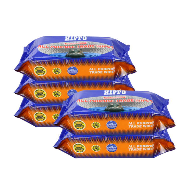 Double sided material heavy duty all purpose industrial wet wipes