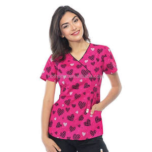 Women's Nursing Scrub Tops Printed Medical Uniforms