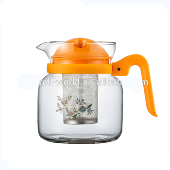 colorful plastic handle glass teapot