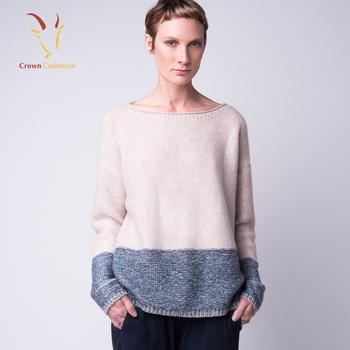 женские свободные сочетание цветов вязаный свитер лодка шеи свитер