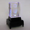 3d crystal cube with menorah star of David on led colorful stand for souvenir gift favors
