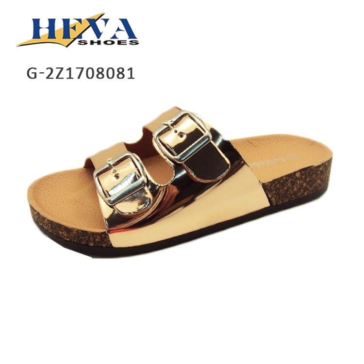 Trendy Comfort Low Easy Slip On Sandal Cork Sole Platform Slippers 2-Strap Buckled Slides Flat Summer Essential