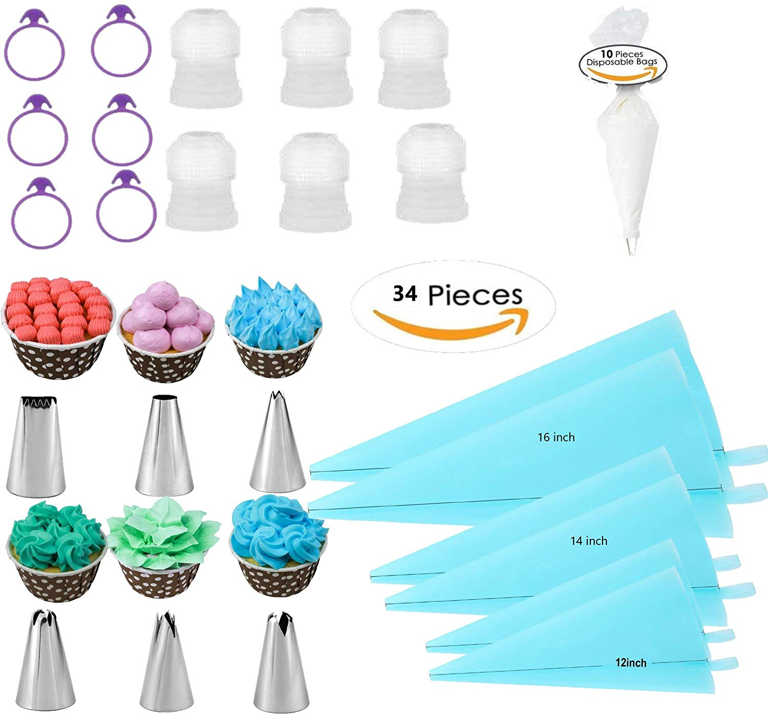 34pcs Silicone Pastry Bags Kit With Cake Decorating Tips Set, Bajiaoting (12''+14''+16'')- 6 Pack ,6 Icing Couplers,6 Pastry Bag Tie,10 Cake Disposable Bags,6 Cake Nozzles Frosting Tools Set