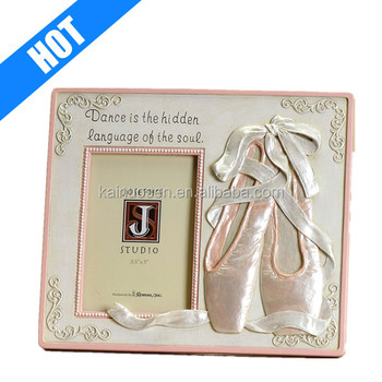 "hand painted pink ballet ballet picture frame- 3.5""x5.5"""