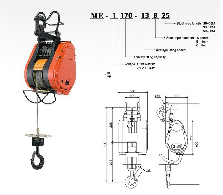 50kg Electric Hoist From China Mini Electric Wire Rope