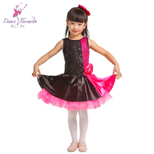Rosa caldo e Nero Jazz Ballet Dance Paillettes-Spandex Body Corpetto con Two-Tone Stretch Raso Tutu <span class=keywords><strong>gonna</strong></span> 15010
