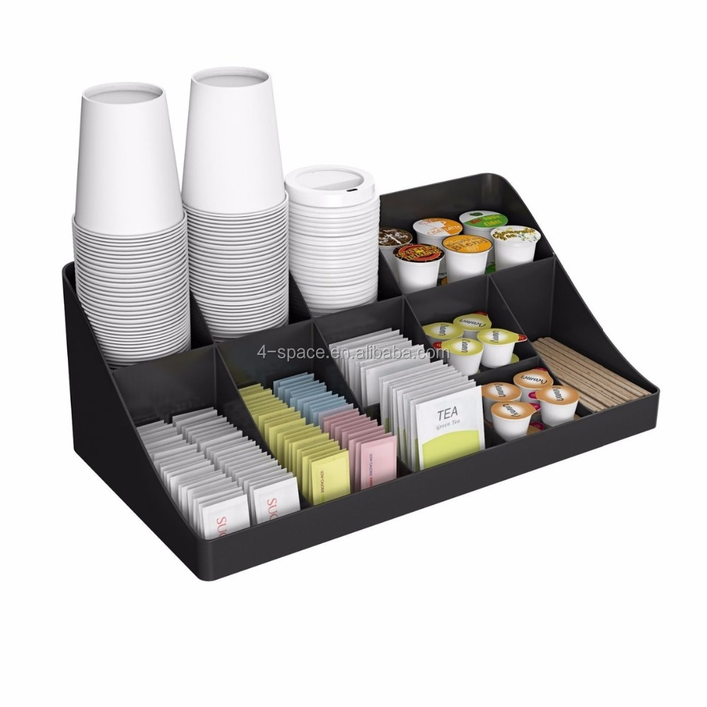 Custom Coffee Organizer 10 divider acrylic box with dividers