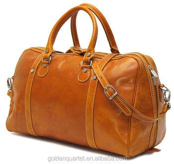 Luxury Brown Leather Travel Duffle Bag Vintage Weekender Mens Duffel Genuine Weekend