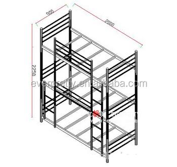 Hot Sale Modern Heavy Duty Metal Queen Size 3 Tiers Bunk Bed Design