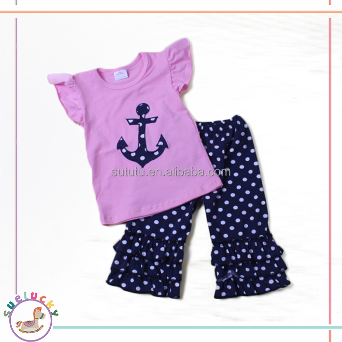 pink top anchor embroidery polka dots icing pants newborn baby cotton clothes